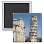 View of the Leaning Tower Square Magnet