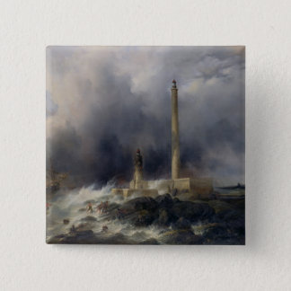 View of the Lighthouse at Gatteville 15 Cm Square Badge