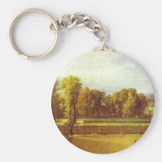 View of the Luxembourg Gardens in Paris by Jacques Basic Round Button Key Ring