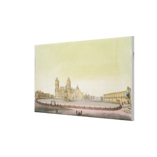 View of the main square in Mexico City (colour eng Canvas Print