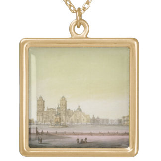 View of the main square in Mexico City (colour eng Gold Plated Necklace