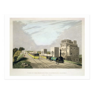 View of the Manchester and Liverpool Railway, take Postcard