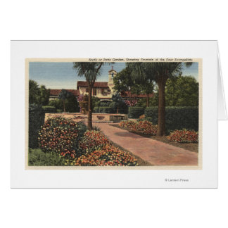 View of the Mission, Patio Gardens Greeting Card