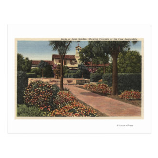 View of the Mission, Patio Gardens Postcard
