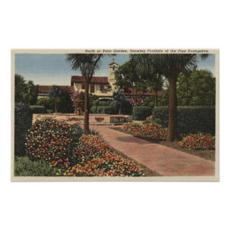 View of the Mission, Patio Gardens Poster