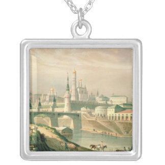 View of the Moscow Kremlin, 1830 Silver Plated Necklace