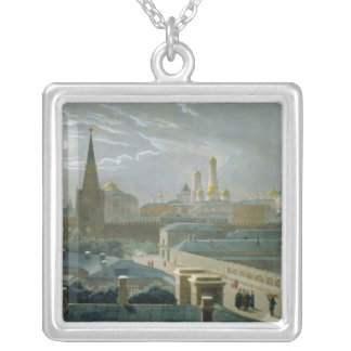 View of the Moscow Kremlin, 1840's Silver Plated Necklace