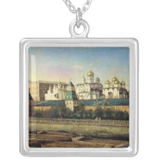 View of the Moscow Kremlin from the Embankment Square Pendant Necklace