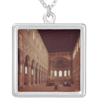 View of the nave and the altar silver plated necklace