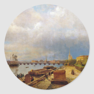 View of the Neva and Peter and Paul Fortress Round Sticker