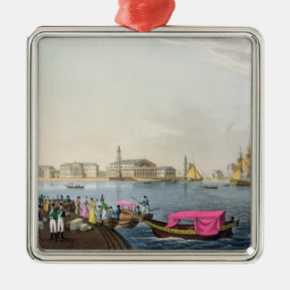View of the Neva, the Harbour and the Exchange at Christmas Ornament