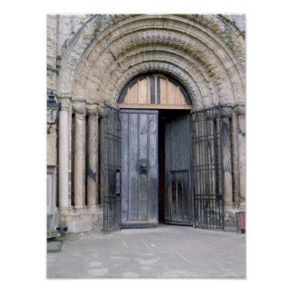 View of the North Door of Durham Cathedral Poster