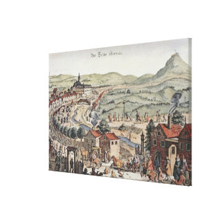 View of the north of Vienna with the Schlos Hernal Canvas Print