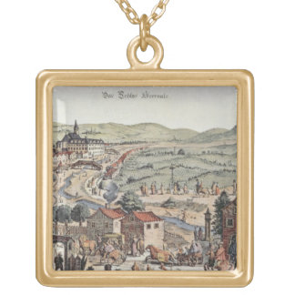 View of the north of Vienna with the Schlos Hernal Gold Plated Necklace