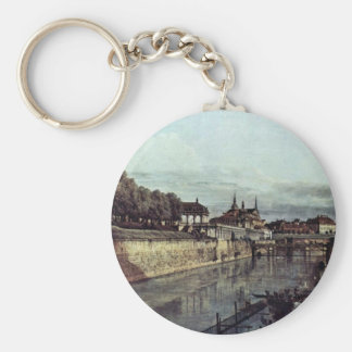 View Of The Old Moat Of The Dresden Zwinger Basic Round Button Key Ring