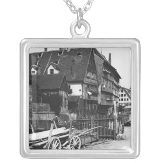 View of the Old Quarter, Ulm, c.1910 Silver Plated Necklace