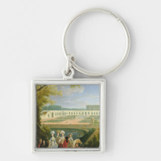 View of the Orangerie at Versailles, after 1697 Silver-Colored Square Key Ring