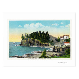 View of the Owl's Head Lighthouse and Owl's Rock Postcard