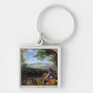 View of the Palace of Versailles in 1669 Silver-Colored Square Key Ring