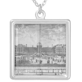 View of the Palais des Tuileries from gardens Silver Plated Necklace