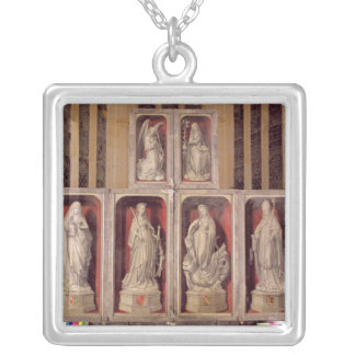 View of the panels of the closed altarpiece silver plated necklace