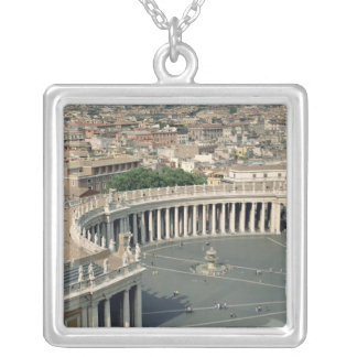 View of the piazza silver plated necklace