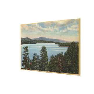 View of the Pine Clad Shores of Lake Canvas Print