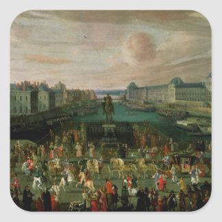 View of the Pont Neuf and the Chateau du Louvre Square Sticker