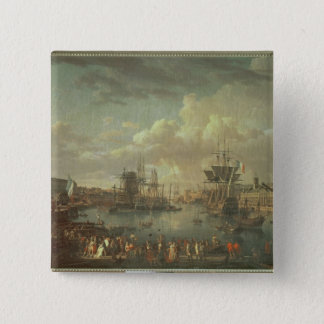 View of the Port at Brest 15 Cm Square Badge