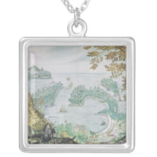 View of the Port of Acapulco Silver Plated Necklace