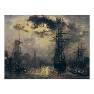 View of the Port, or The Windmills in Poster