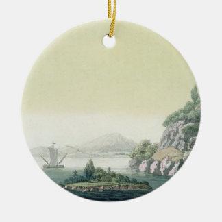 View of the Potomac river near Mount Vernon (colou Round Ceramic Decoration