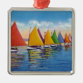 View of the Rainbow Sailboat Fleet Silver-Colored Square Decoration