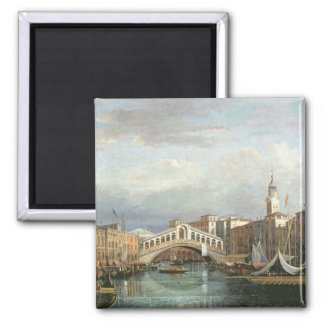 View of the Rialto Bridge in Venice Square Magnet