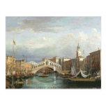 View of the Rialto Bridge in Venice Postcard