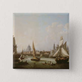 View of the River Thames 15 Cm Square Badge