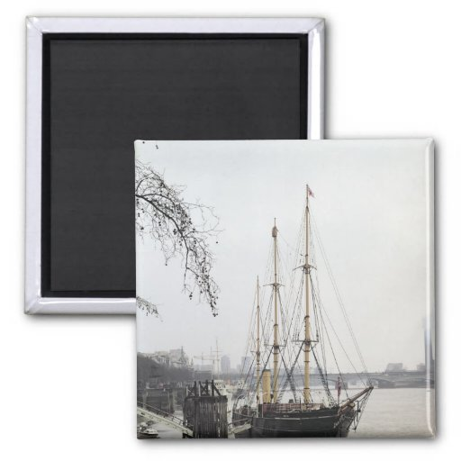 View of the River Thames with RRS Discovery Fridge Magnets
