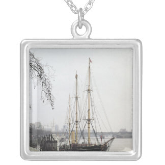 View of the River Thames with RRS Discovery Silver Plated Necklace
