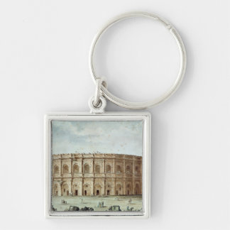 View of the Roman Amphitheatre Silver-Colored Square Key Ring