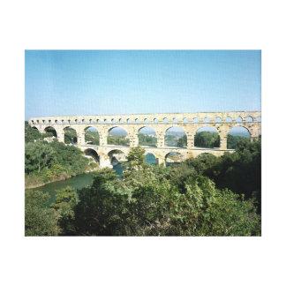 View of the Roman aqueduct, built c.19 BC Canvas Print