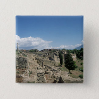 View of the ruined city 15 cm square badge