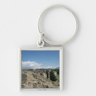 View of the ruined city Silver-Colored square key ring