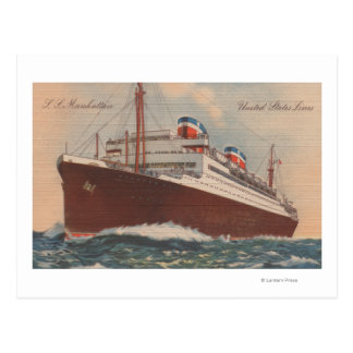 View of the S.S. Manhattan Cunard Cruise Ship Postcard