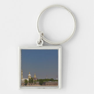 View of the Saints Peter and Paul Cathedral 2 Silver-Colored Square Key Ring