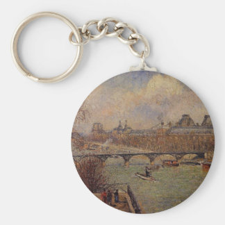 View of the Seine from the Raised Terrace Basic Round Button Key Ring