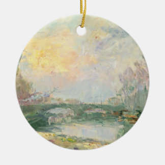 View of the Seine, Paris (oil on canvas) Christmas Ornament