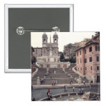 View of the Spanish Steps or Scalinata 15 Cm Square Badge