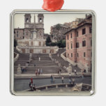 View of the Spanish Steps or Scalinata Silver-Colored Square Decoration
