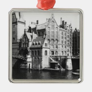 View of the Speicherstadt  Hamburg, c.1910 Silver-Colored Square Decoration