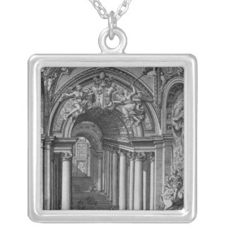 View of the staircase in the Scala Regia Silver Plated Necklace